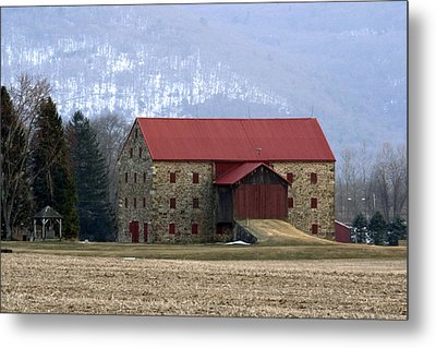 Winter Sunset  At The Old Snyder Stone Barn Metal Print