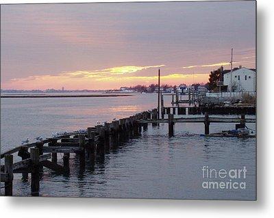 Winter Sunset Freeport Metal Print by John Telfer