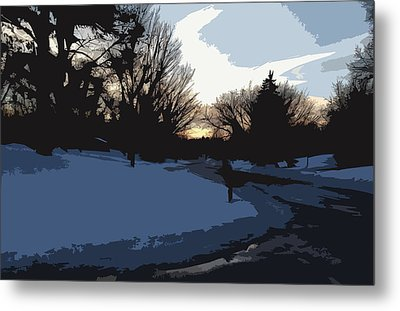 Metal Print featuring the digital art Winter Sunset by Kirt Tisdale
