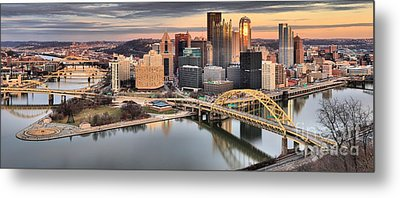 Winter Sunset Over The Pittsburgh Skyline Metal Print