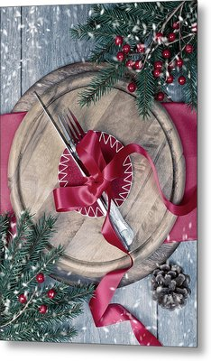 Winter Table Setting Metal Print by Amanda Elwell