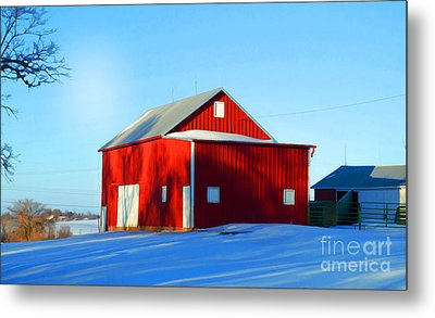 Winter Time Barn In Snow Metal Print by Luther Fine Art