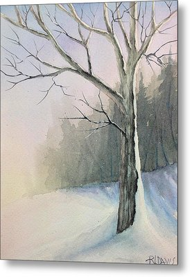 Metal Print featuring the painting Winter Tree by Rebecca Davis