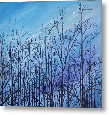 Winter Trees Against A Blue Sky Metal Print