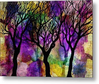 Winter Trees On Mica Background Metal Print