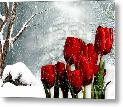 Metal Print featuring the mixed media Winter Tulips by Morag Bates