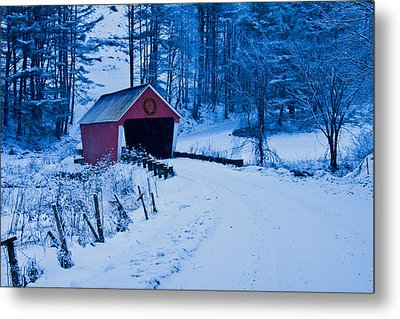 winter Vermont covered bridge Metal Print by Jeff Folger