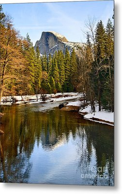 Winter View Of Half Dome In Yosemite National Park. Metal Print by Jamie Pham