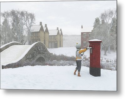 Winter Village With Postbox Metal Print by Jayne Wilson