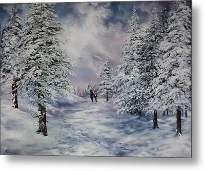 Metal Print featuring the painting Winter Walk On Cannock Chase by Jean Walker