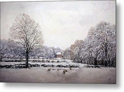 Metal Print featuring the painting Winter Walk by Rosemary Colyer