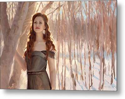 Winter Warmth - Figure In The Landscape Metal Print by Karen Whitworth