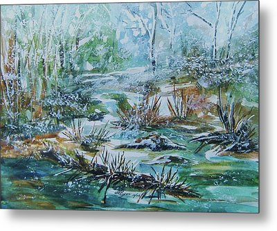 Metal Print featuring the painting Winter Whispers On Catskill Creek by Ellen Levinson
