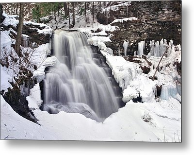 Winter Wilds At Erie Falls Metal Print