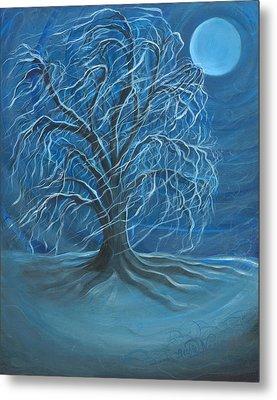 Winter Willow Metal Print by Beckie J Neff