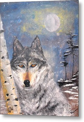 Metal Print featuring the painting Winter Wolf by Denise Tomasura