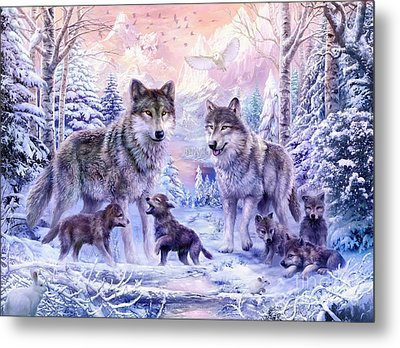 Winter Wolf Family  Metal Print