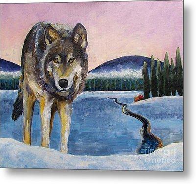 Winter Wolf Metal Print by Harriet Peck Taylor
