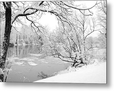 Winter Wonderland In Black And White Metal Print