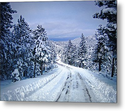 Winter Woodland Photo -country Roads Take Me Home -mountain Landscape -nature Metal Print by Julie Magers Soulen