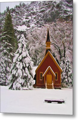 Winter Yosemite Chapel Metal Print by Heidi Smith
