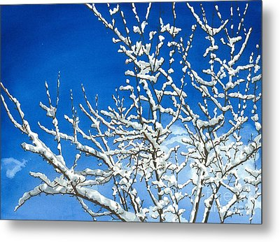 Metal Print featuring the painting Winter's Artistry by Barbara Jewell