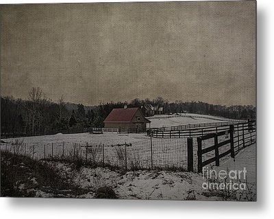 Winter's Farm Metal Print by Terry Rowe