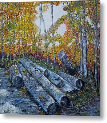 Metal Print featuring the painting Winter's Firewood by Marilyn  McNish