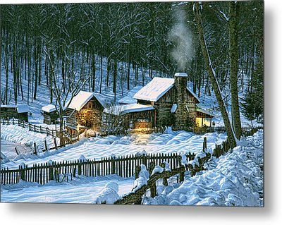 Metal Print featuring the digital art Winter's Haven by Mary Almond