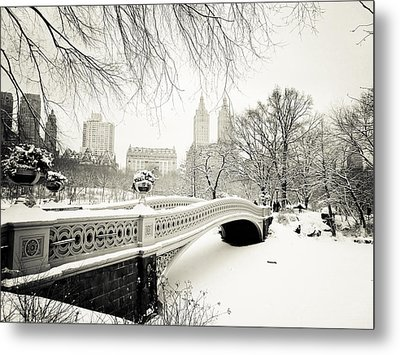Winter's Touch - Bow Bridge - Central Park - New York City Metal Print by Vivienne Gucwa
