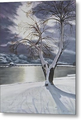 Metal Print featuring the painting Winter's Whisper by Bonnie Heather