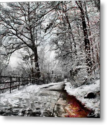 Wintery Road Metal Print