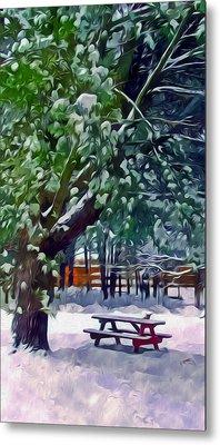 Wintry  Snowy Trees Metal Print by Lanjee Chee