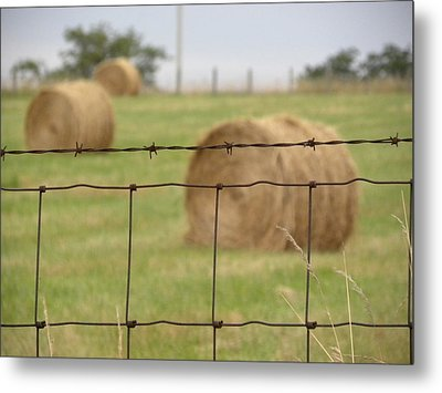 Wire And Hay Metal Print