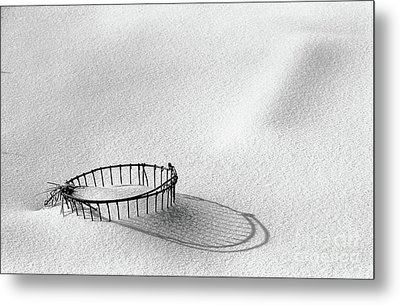 Wire Basket In Snow Metal Print