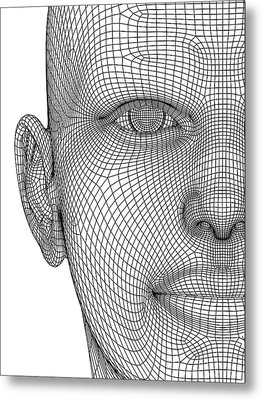Wireframe Head Metal Print