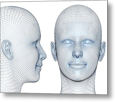 Wireframe Heads Metal Print