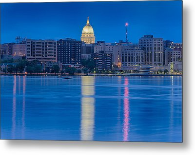Wisconsin Capitol Reflection Metal Print by Sebastian Musial