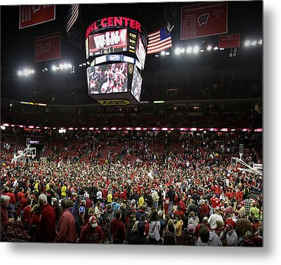 Wisconsin Fans Rush The Court At The Kohl Center Metal Print by Replay Photos