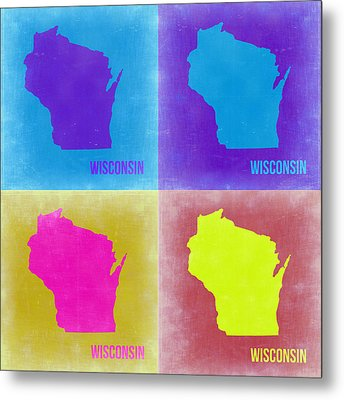 Wisconsin Pop Art Map 3 Metal Print by Naxart Studio