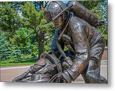 Metal Print featuring the photograph Wisconsin State Firefighters Memorial 4 by Susan  McMenamin
