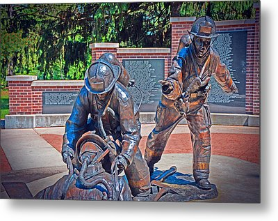 Metal Print featuring the photograph Wisconsin State Firefighters Memorial Park 2 by Susan  McMenamin