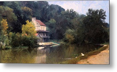 A Duck And A House On The Canal Metal Print by Spyder Webb