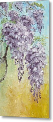 Wisteria And Gold Metal Print by Mary Rogers