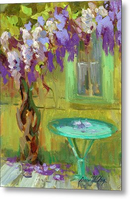 Wisteria At Hotel Baudy Metal Print by Diane McClary