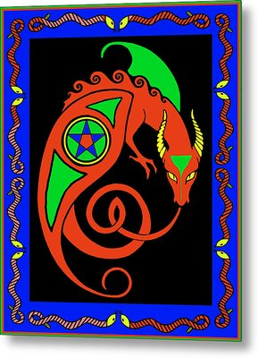 Metal Print featuring the digital art Witches Dragon by Vagabond Folk Art - Virginia Vivier