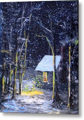 Wintery  Night At Thoreau's Cove Metal Print by Jack Skinner