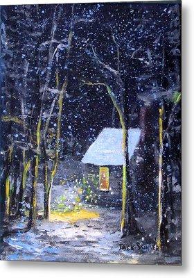 Wintery  Night At Thoreau's Cove Metal Print