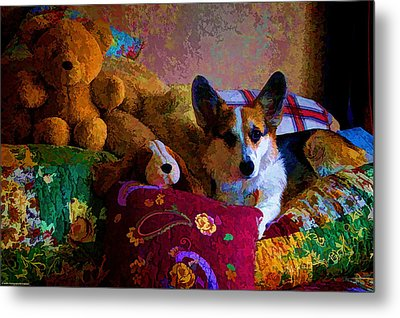 With His Friends On The Bed Metal Print