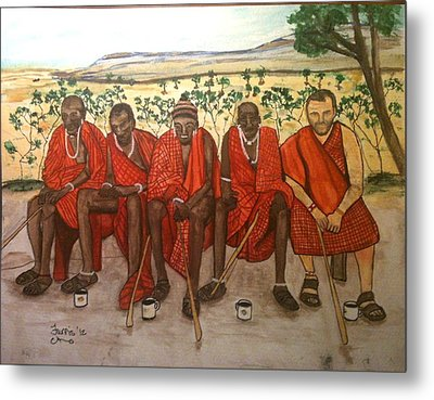 With The Masai Metal Print by Larry Farris